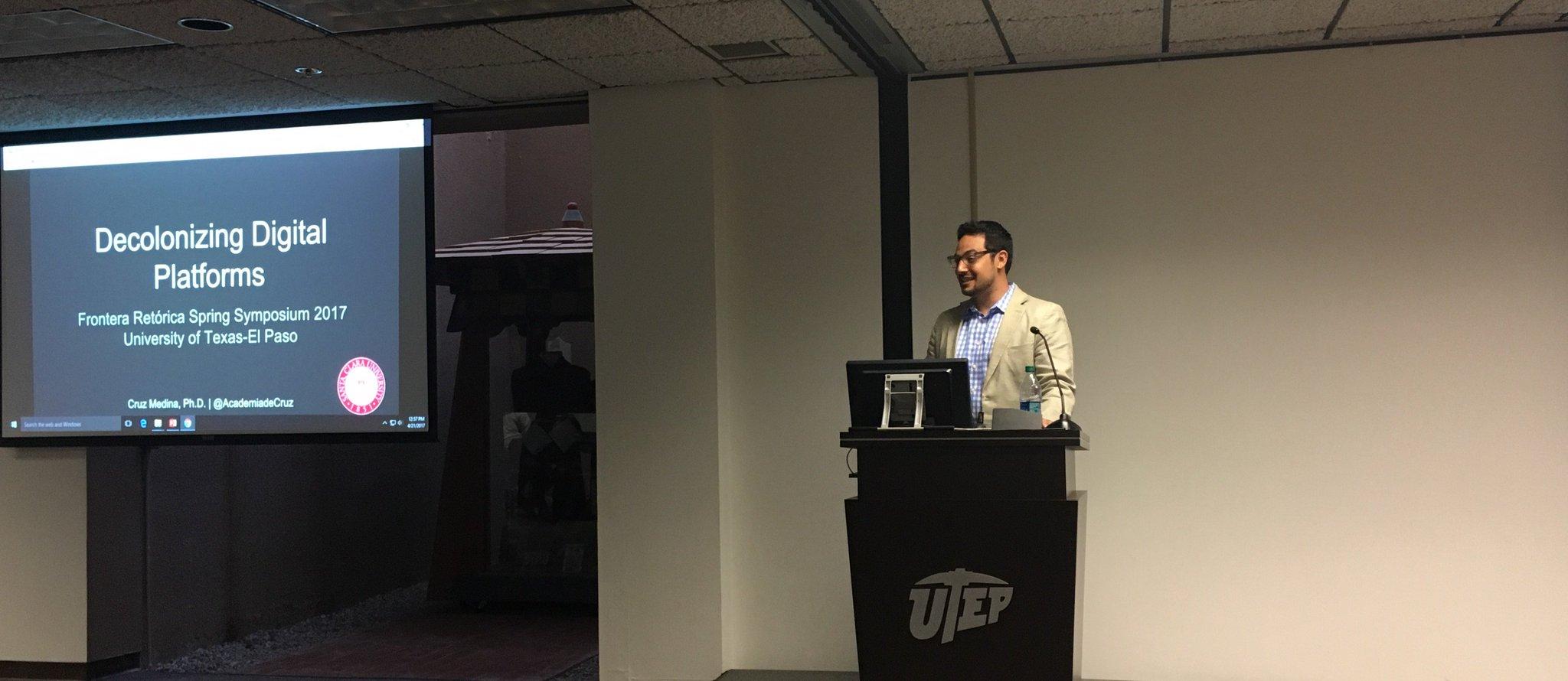 . @AcademiadeCruz speaking at the 2017 Spring Symposium. #UTEPRWS https://t.co/J6qNmBh1Kc