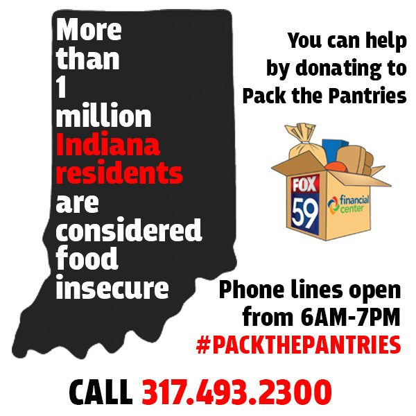 1 HOUR LEFT: You can help! @FOX59 along with @GleanersFBIndy taking donations to #PackThePantries  Phone lines open til 7 PM. <br>http://pic.twitter.com/NByDzfNH86