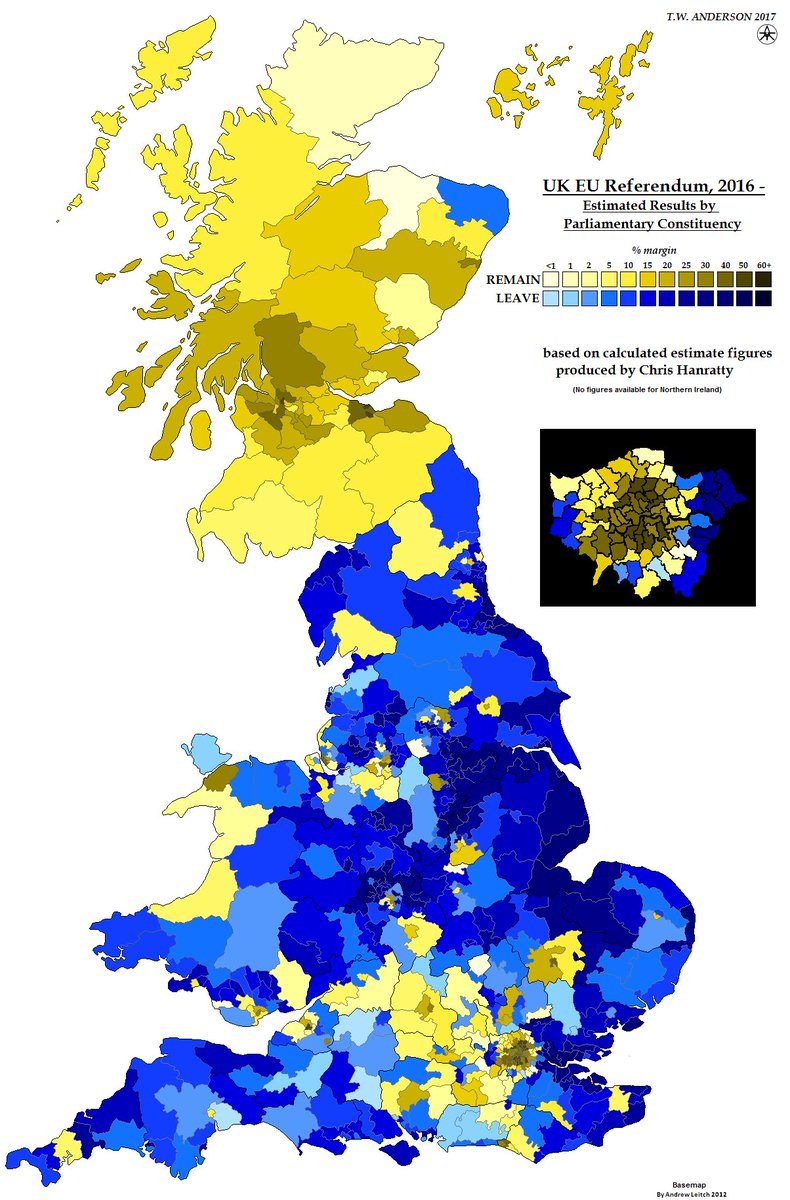 frank selby on twitter assessed leave remain euref map based on constituencies rather than local authorities ex ni
