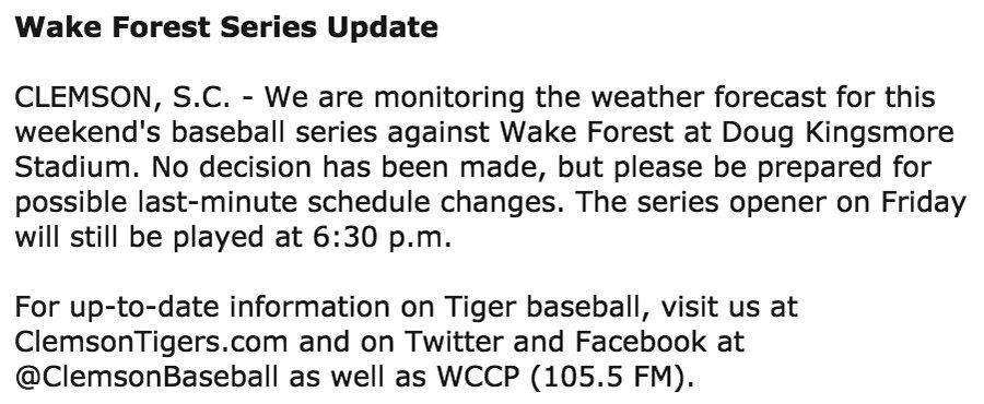 Wake Forest series update ---> https://t.co/mh3OgkpLJR