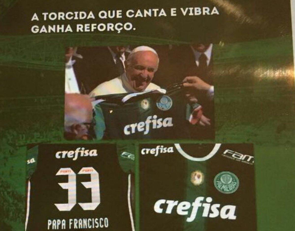 Patrocinadora do Palmeiras usa imagem do Papa sem autorização em propaganda, e Vaticano cogita ir à Justiça https://t.co/YuhUqvZuJC