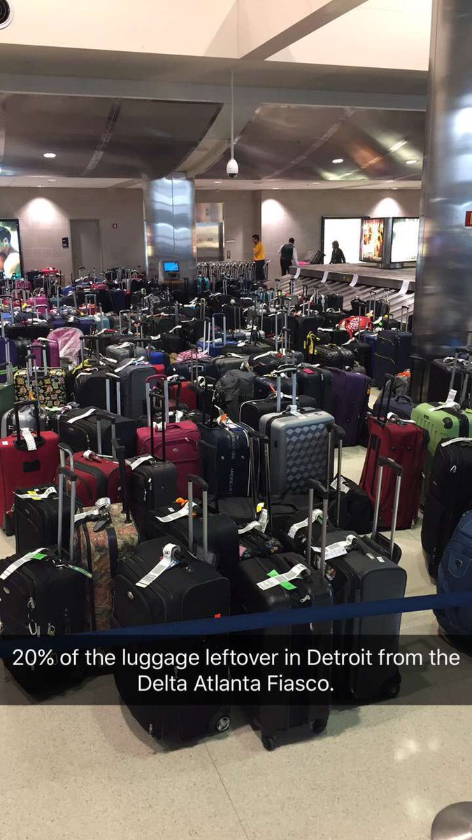 25% of the luggage leftover in Detroit from the @delta Atlanta problem. https://t.co/5gJNBd09Mg
