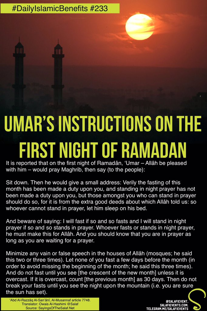 Salafievents On Twitter New Umars Instructions On The First