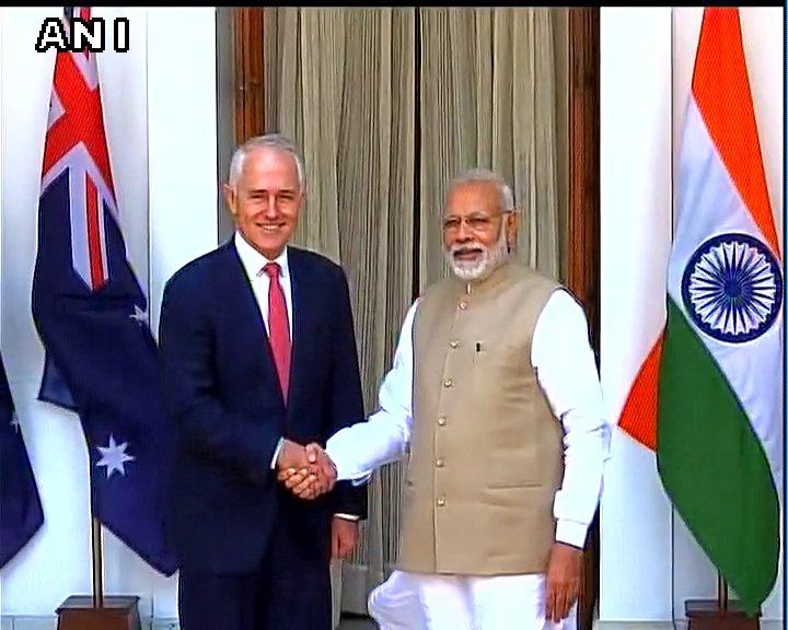 Delhi: Australian PM Malcom Turnbull meets PM Narendra Modi at Hyderabad House