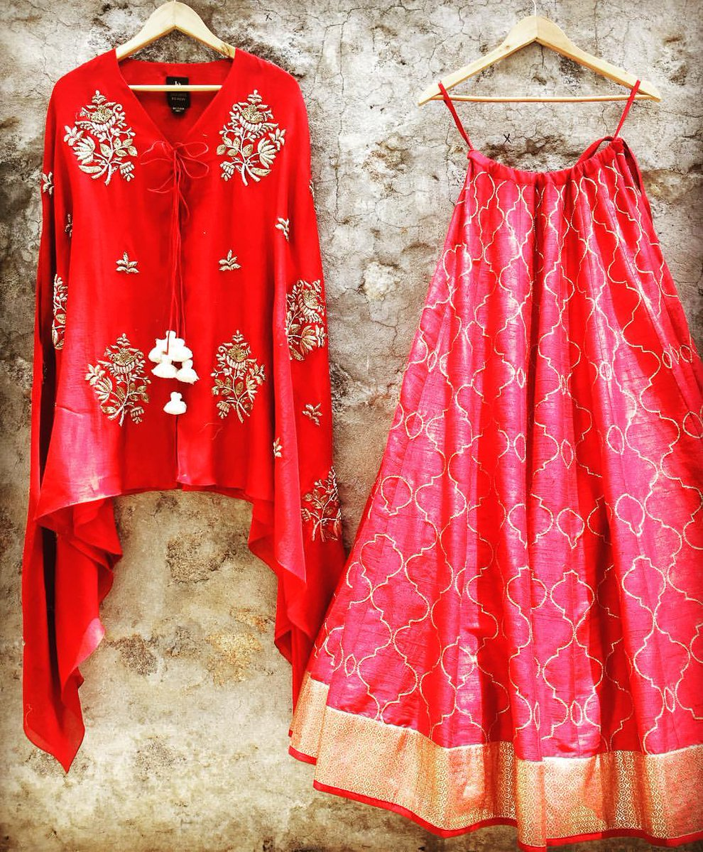 Crushing on this bright red lehenga and cape set! Contact jayantireddyofficial@gmail.com to place your order.    jayanti reddy  jayanti reddy label.