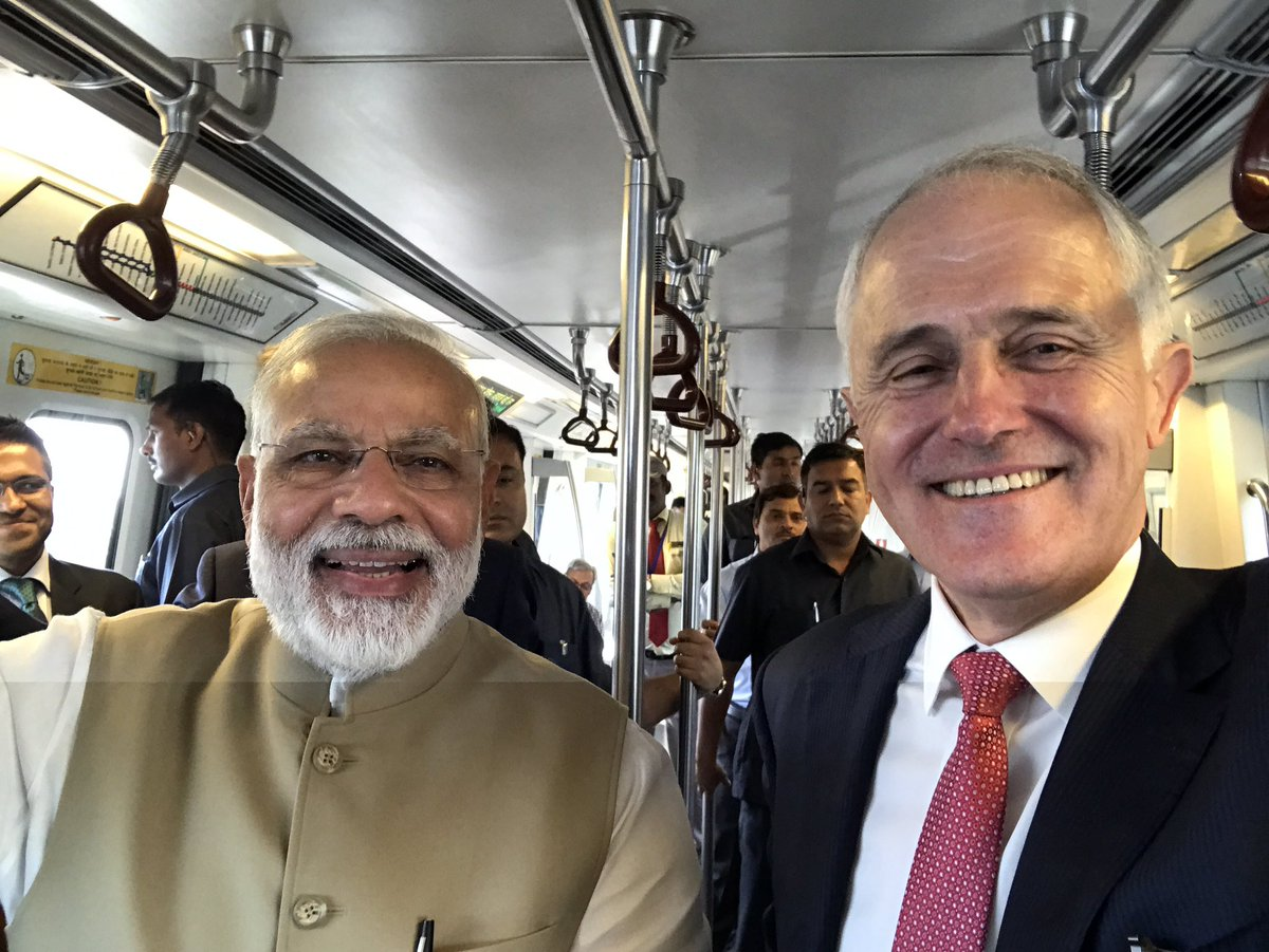 With @narendramodi on the Delhi Metro Blue Line - 212 kms & 159 stations since 2002
