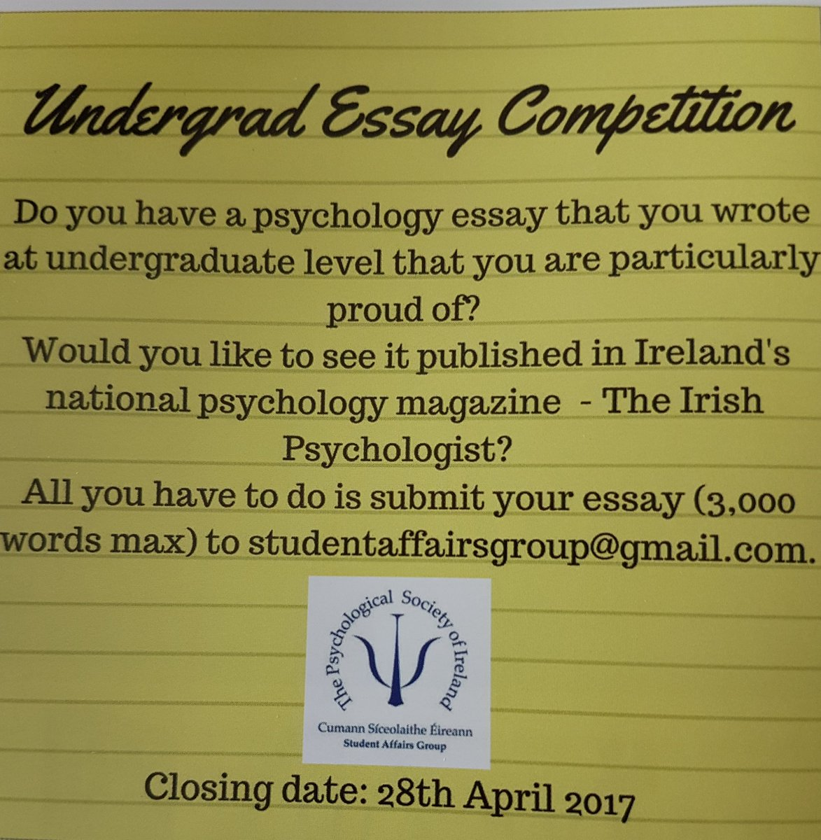 psychology as essay competition This annual essay contest is organized in an effort to harness the energy, creativity and initiative of the world's youth in promoting a culture of.