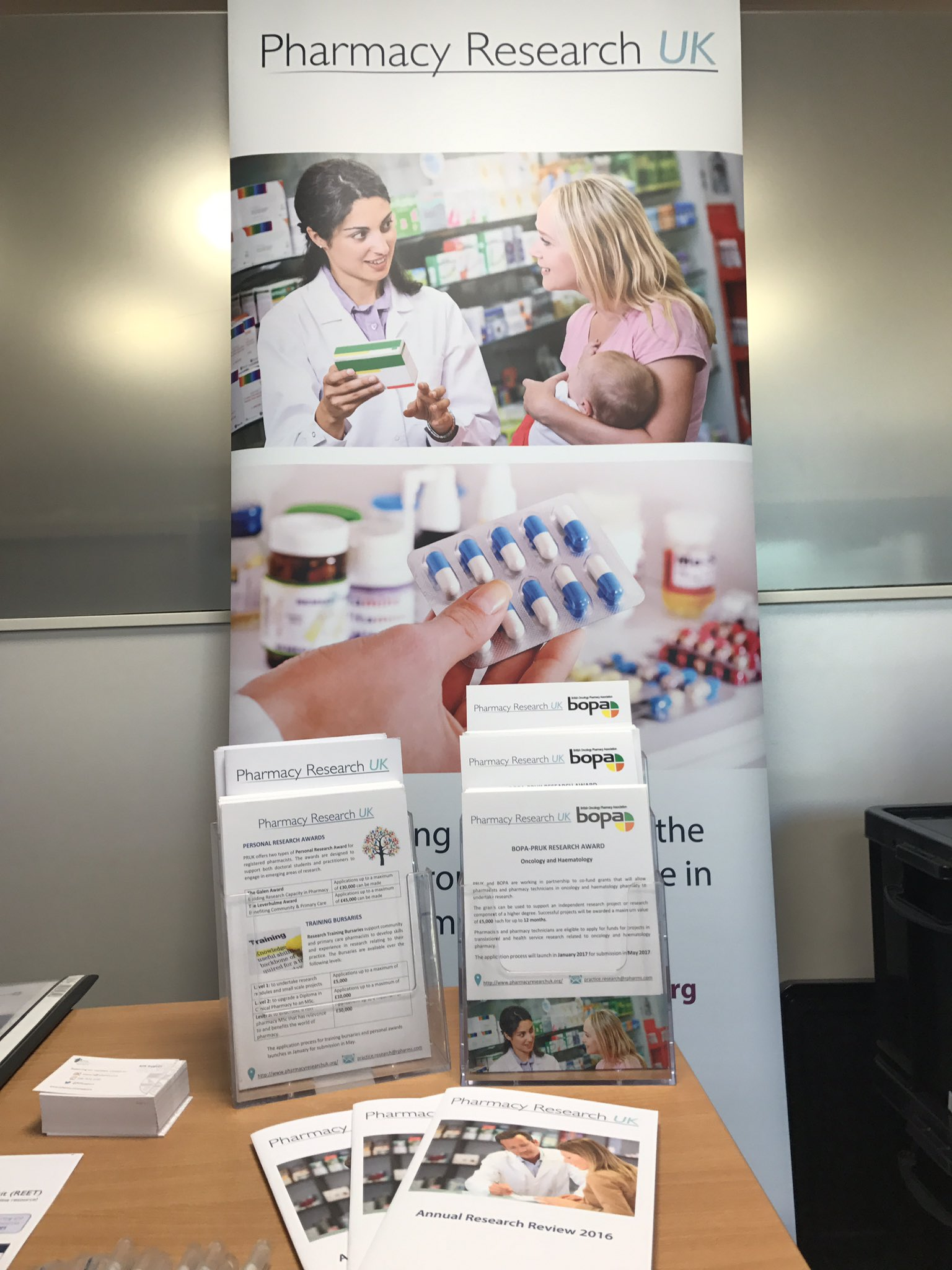 #hsrpp2017 @PharmResUK Stand all set up and ready to go. Pop by & hear about #research #funding for #pharmacy @hsrpp2017 https://t.co/OHjFQQaaiT