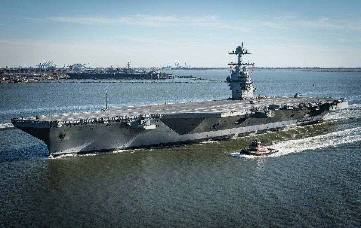 #USNavy The future USS Gerald R. Ford (CVN 78) is underway for its first set of sea trials #CVN78 https://t.co/bIEPNpZnMl