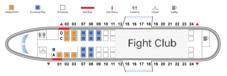 Image result for image of plane diagram noting fight club section from Twitter of United Airlines fiasco APril 2017