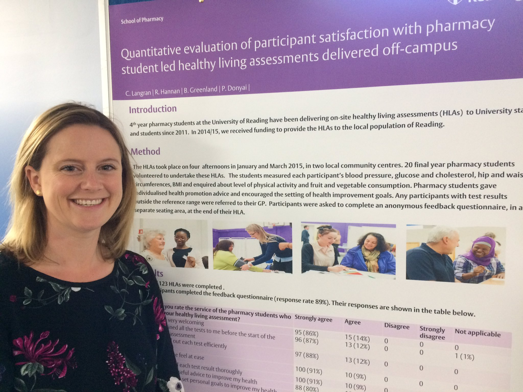 """Healthy Living Assessments delivered by pharmacy students rated as """"outstanding""""  #hsrpp2017 @UniofReading https://t.co/ibv4igmjtL"""