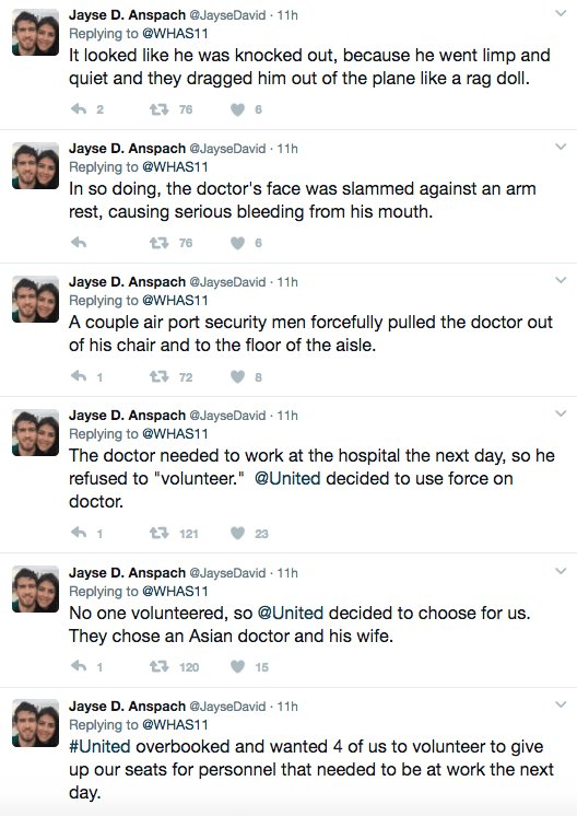 A passenger on that @united flight who watched as an Asian doctor was violently removed from his seat due to overbooking described the scene