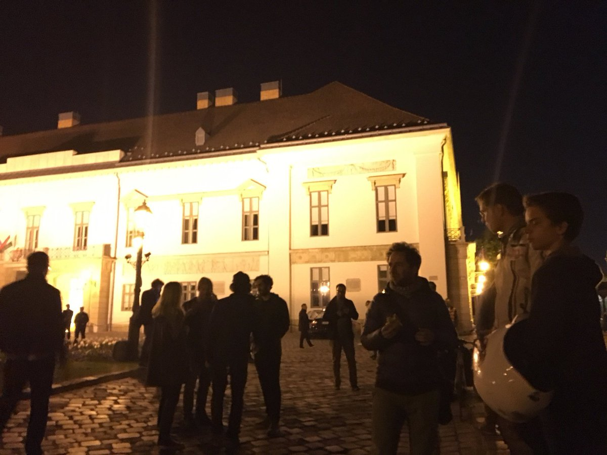 Spontaneous protest started at president János Áder's residence in Budapest after he signed Lex CEU