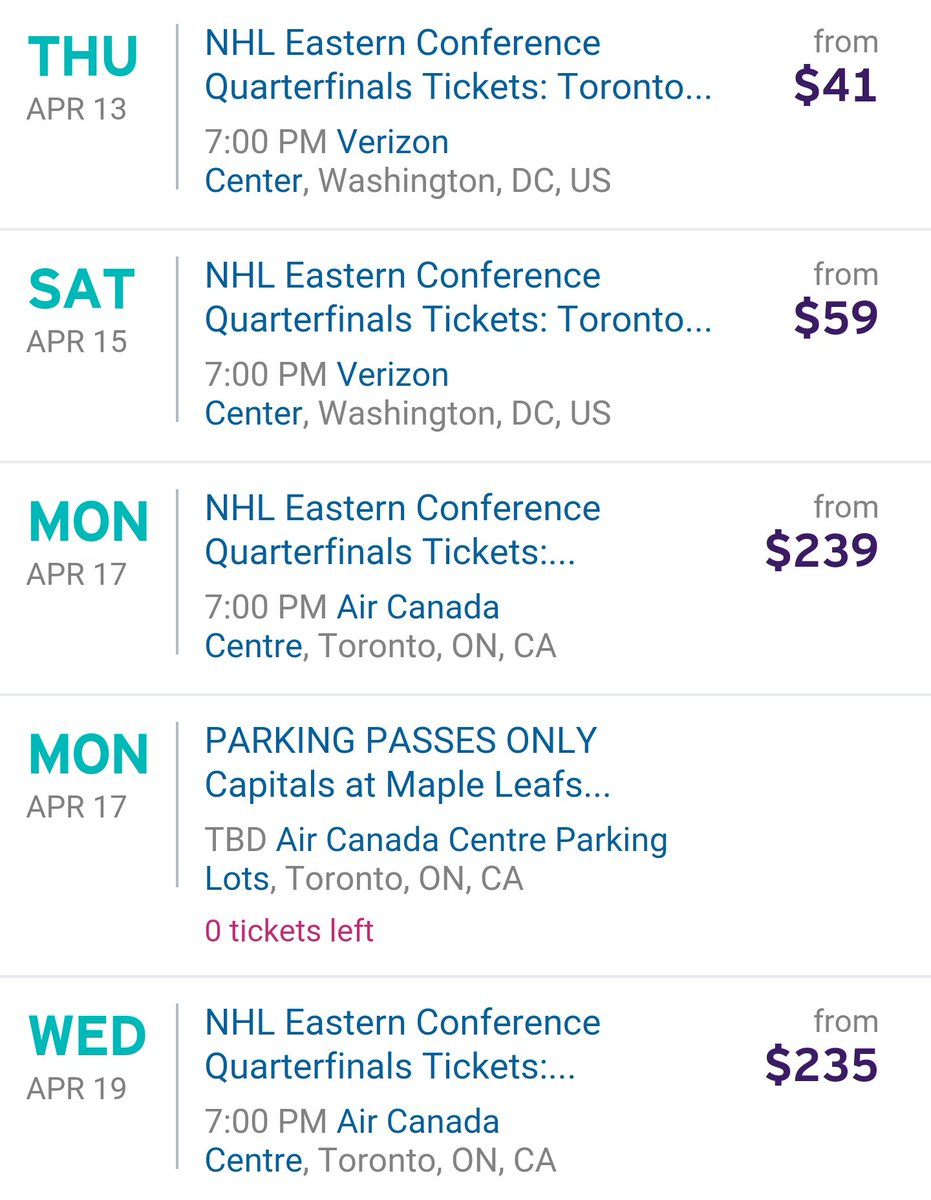 Current get-in prices on Stubhub for Leafs-Caps series.   #StanleyCup  #NFLPlayoffs <br>http://pic.twitter.com/zVqnvJ5OcQ