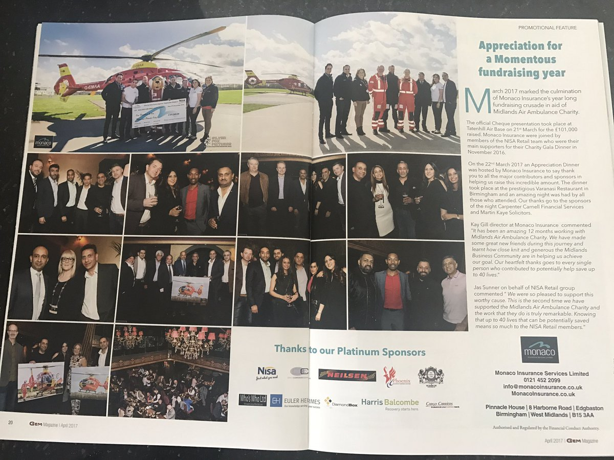 Excited to be featured in this months Gem @VaranasiBham @GEMMagazineUK @MAA_Charity @DESCOLEMAN @MartinKayeLLP @eulerhermes @NisaLocally