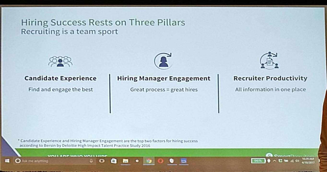 3 pillars for #Hiring success by @jerometernynck  - candidate experience  - hiring manager engagement - recruiter productivity  #Hire17 https://t.co/5zDpASCNXB