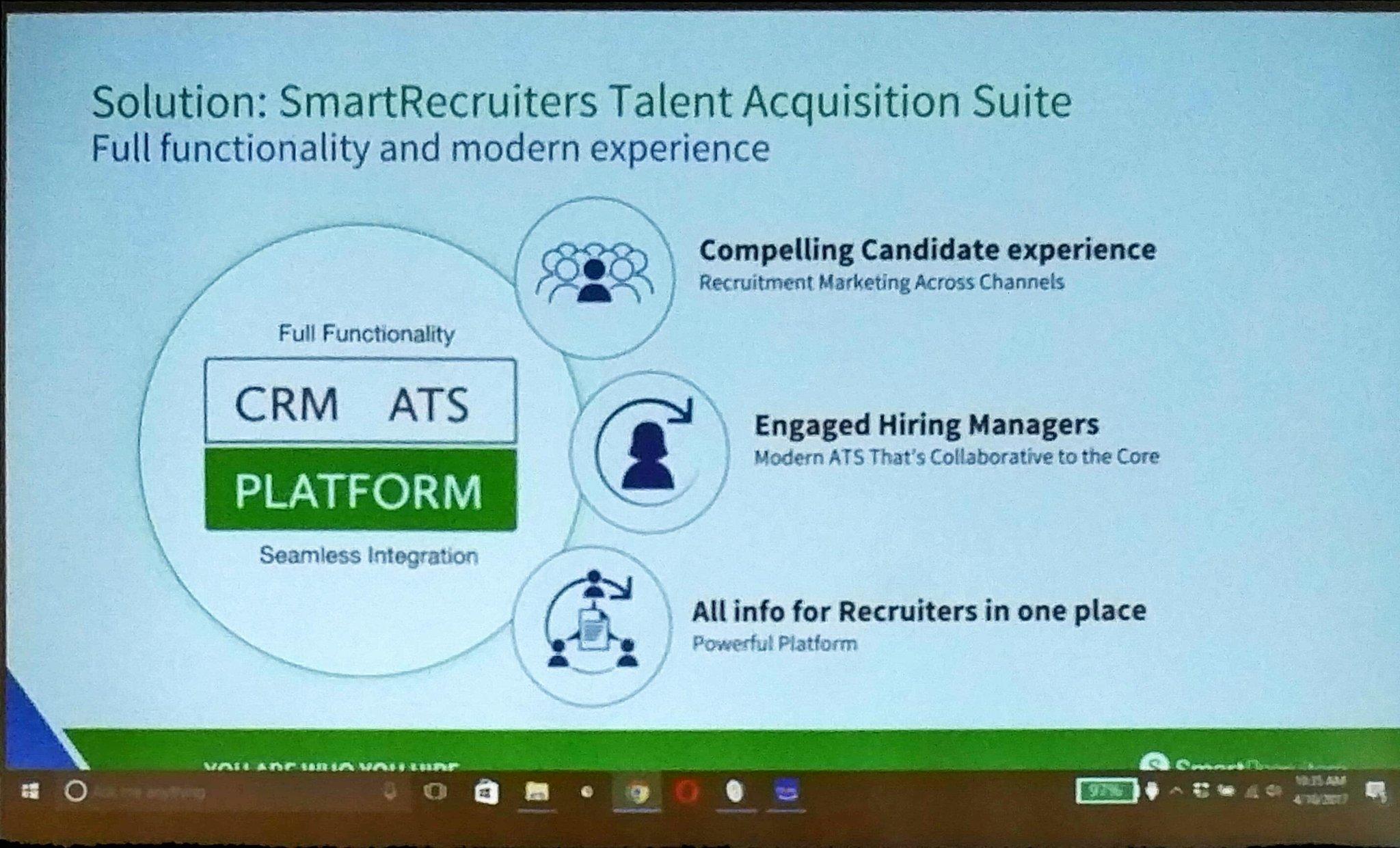 .@jerometernynck solution: @SmartRecruiters  platform w - Cross channel recruiting marketing - collaborative ATS - powerful platform #hire17 https://t.co/CF9u1bJSYc