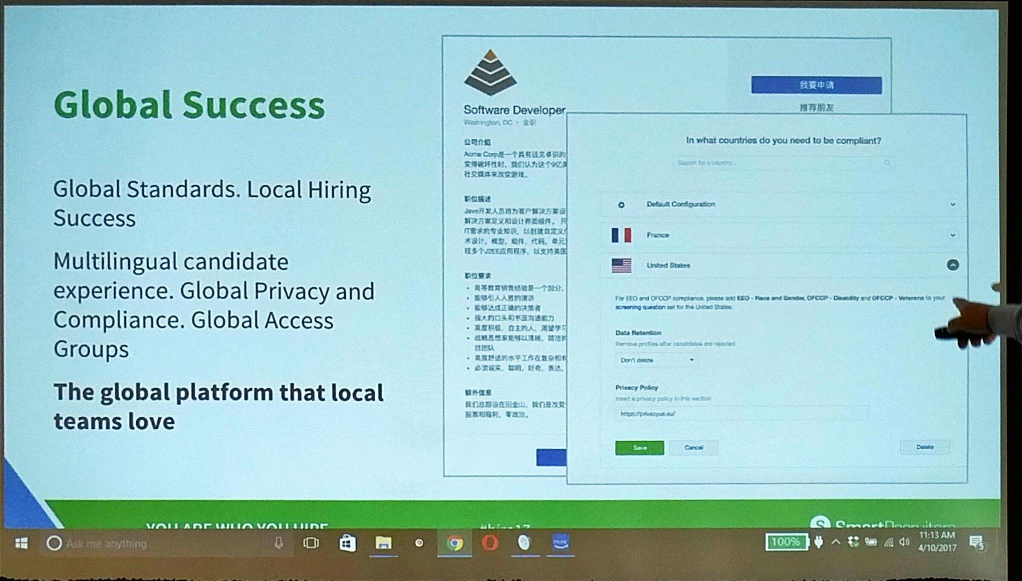Key new @SmartRecruiters new capabilities - Globalization capabilities - Global Standards -  Lokal Hiring success. #hire17 https://t.co/4PbyO5g1cb