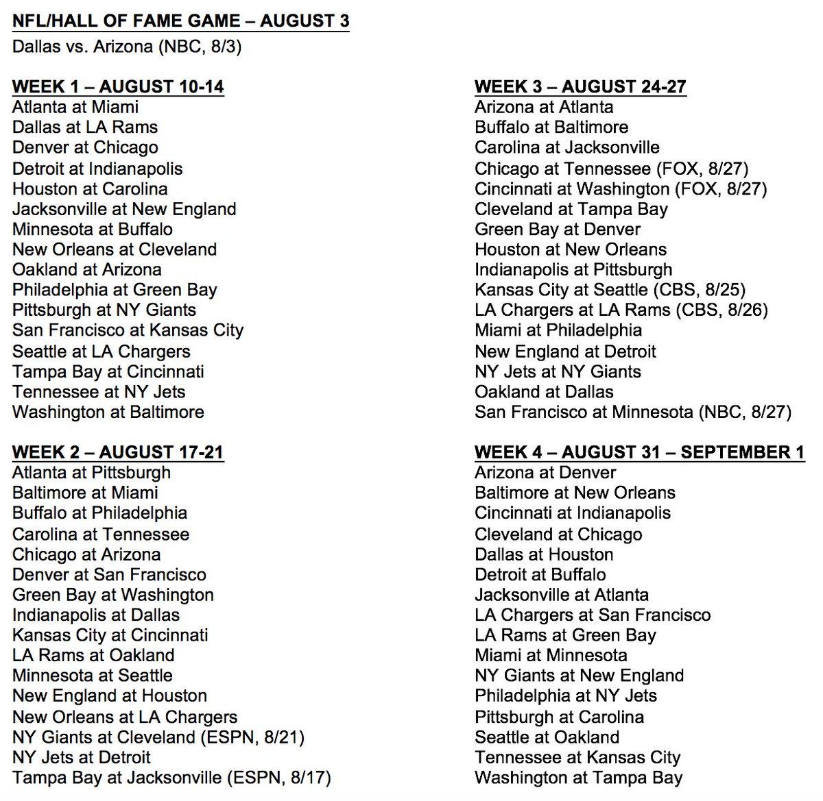 Image result for nfl 2017 preseason schedule