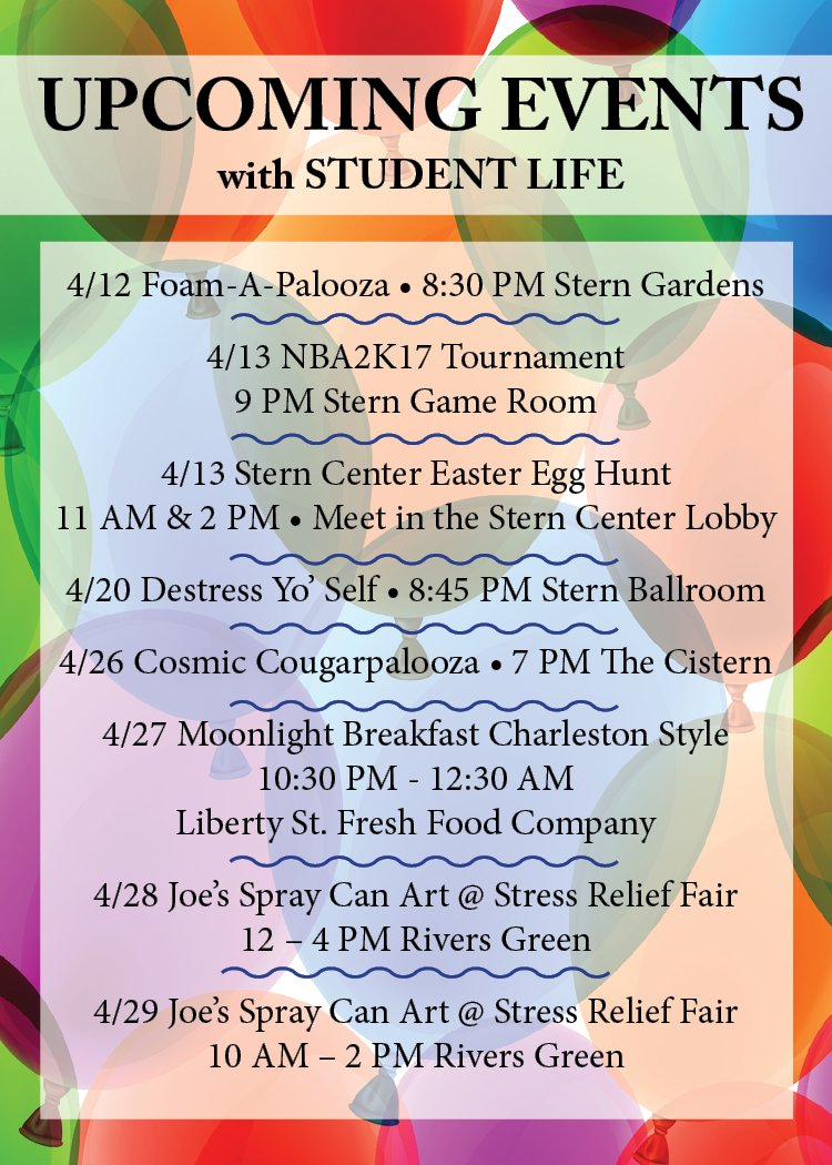 Cofc Student Life On Twitter Student Life Has A Bunch Of Events