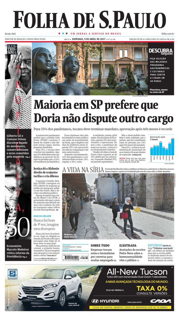 Lula comprou barco de alumínio de R$ 4 mil. Folha destaca meia página da capa.  Serra recebeu € 2 milhões de caixa 2. Folha ignora na capa.