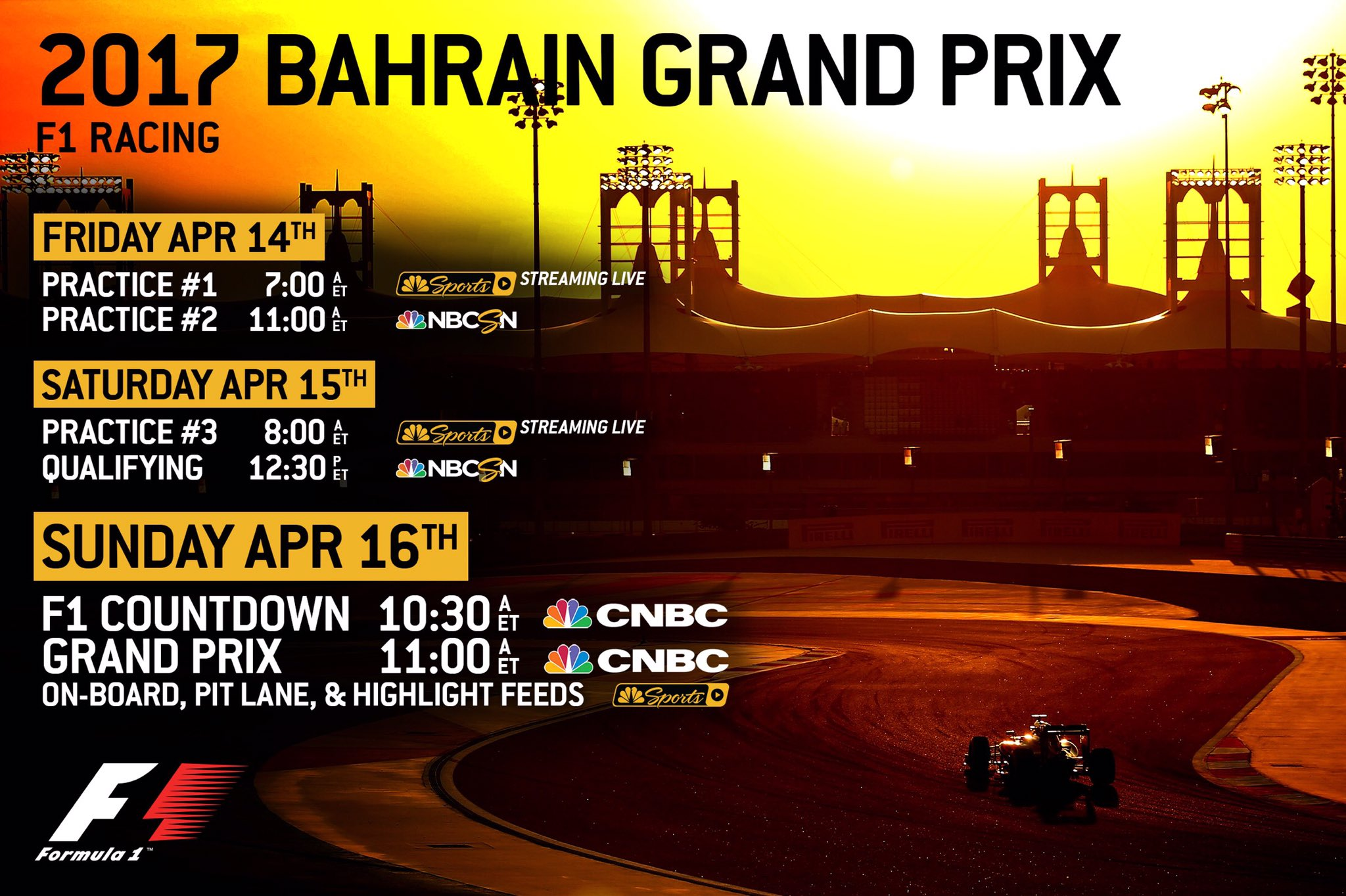 f1 on nbc sports on twitter formula 1 enters the night this weekend with the bahrain grand. Black Bedroom Furniture Sets. Home Design Ideas