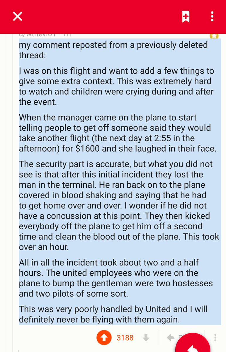 RT @FLSURFR: From Reddit: passenger recounts some details I did not know about #united #unitedAIRLINES #united3411 https://t.co/x0U5EizKMG 1