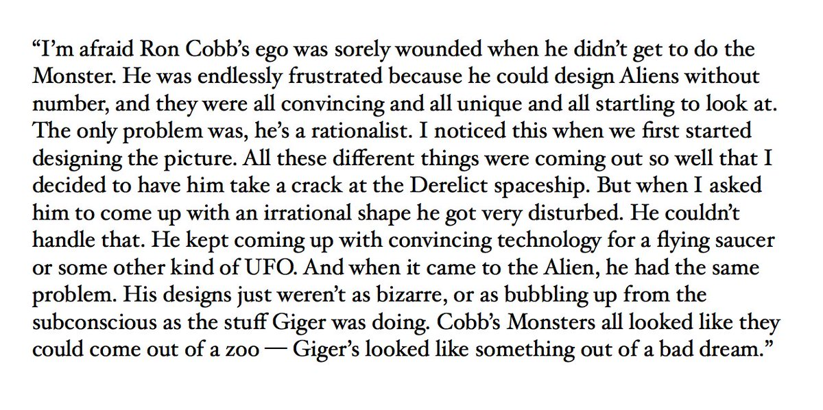 ALIEN screenwriter Dan O'Bannon on Ron Cobb & H.R. Giger from an interview with Cinefex