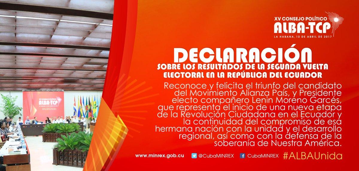 Resultado de imagen para Declaración del XV Consejo Político del ALBA-TCP sobre los resultados de la segunda vuelta electoral en la República del Ecuador