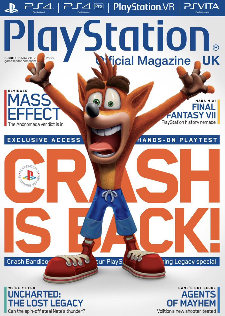 on twitter playstation magazine may 2017 front cover crash
