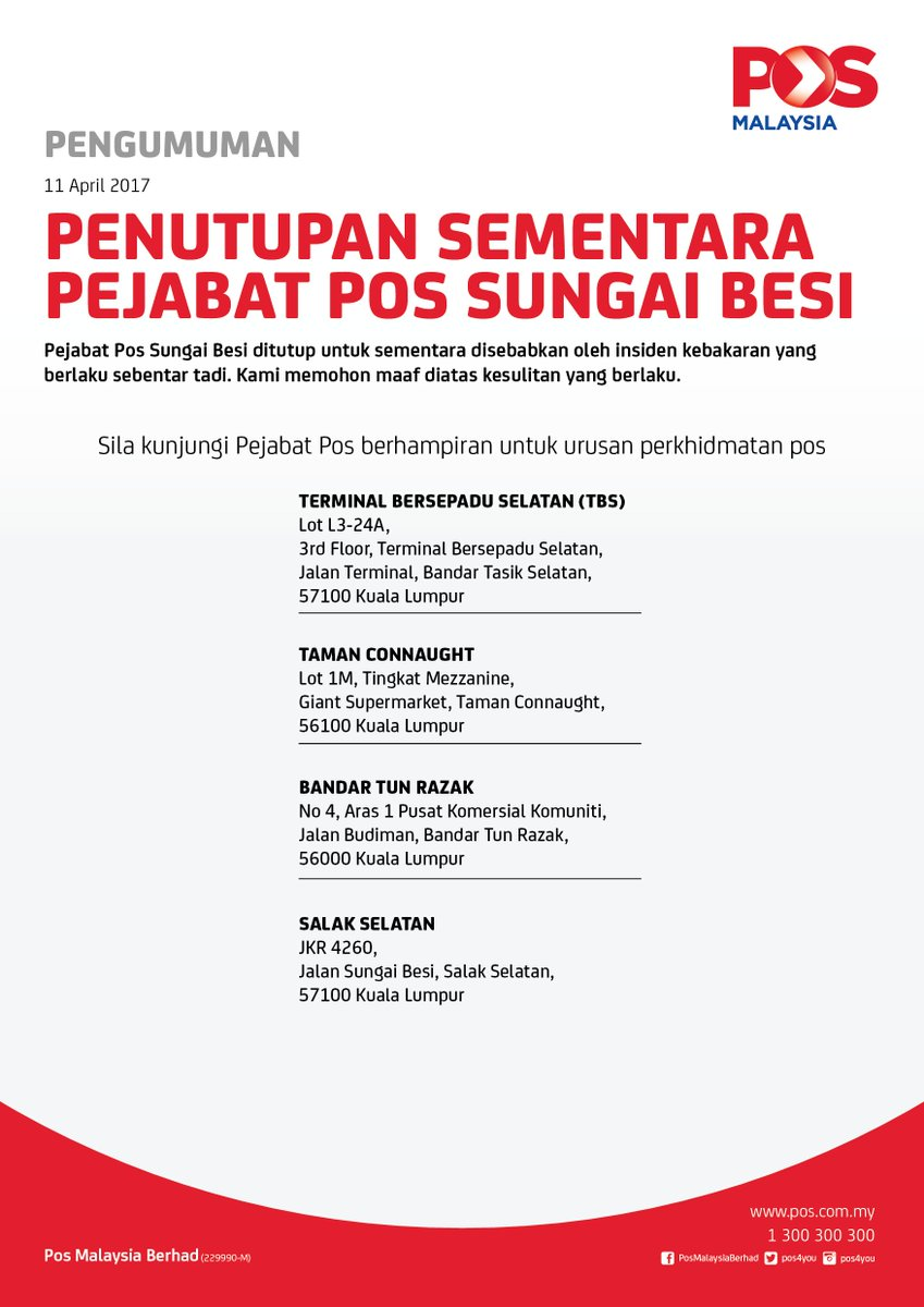Pos Malaysia Berhad On Twitter Hi Item Last Status On 19 June At Po Sg Besi Item Will Be Put At Counter 7 Days Only For Request Hold Item Can Might Be