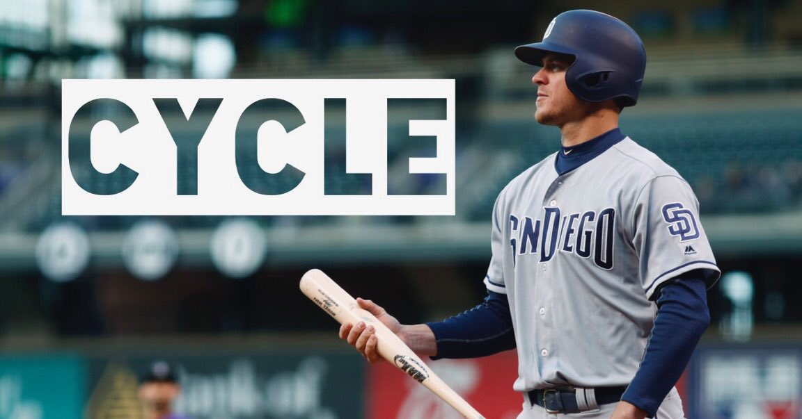Cycle for @wilmyers! A triple to left field completes the feat, making him the 2nd Padre to hit for the cycle