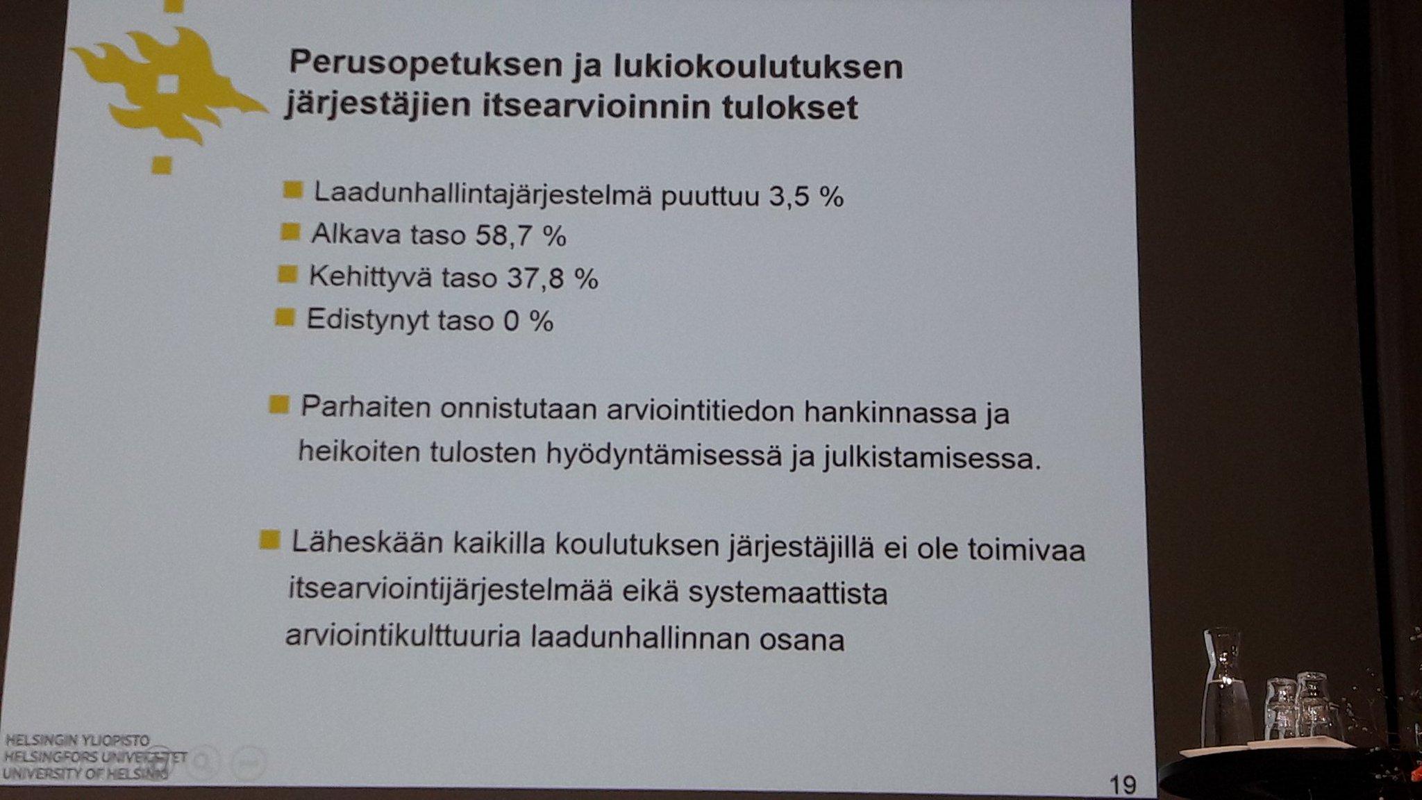 Koulutuksen järjestäjä tarvitsee systemaattisen arviointijärjestelmän.  #arviointikulttuuri #arviointi2017 @Opetushallitus https://t.co/cQ6fPM3AJj