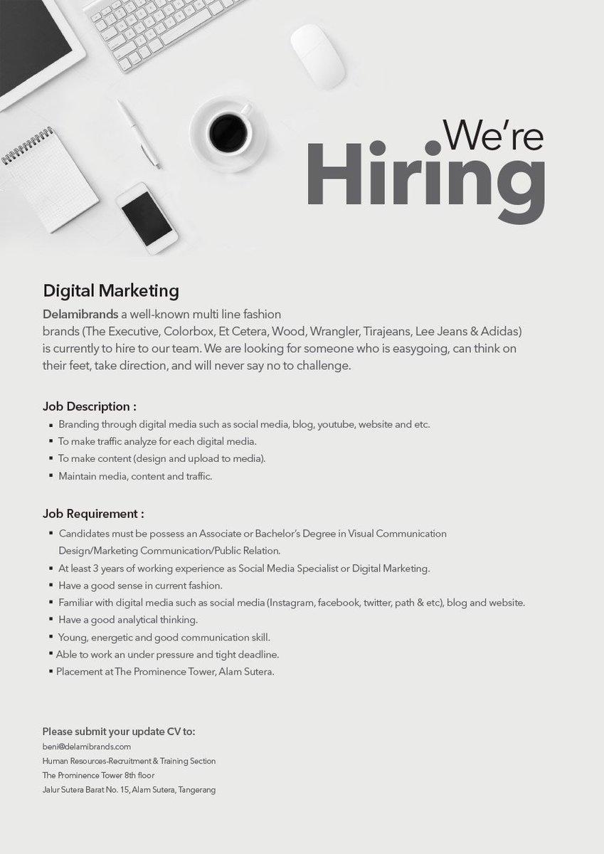 Delamibrands On Twitter Delamibrands Hiring Now Jobvacancy Lowongankerja Job Vacancy Kerja Hiring Delamibrands Fashion Digitalmarketing Https T Co Kbwwxxizc9
