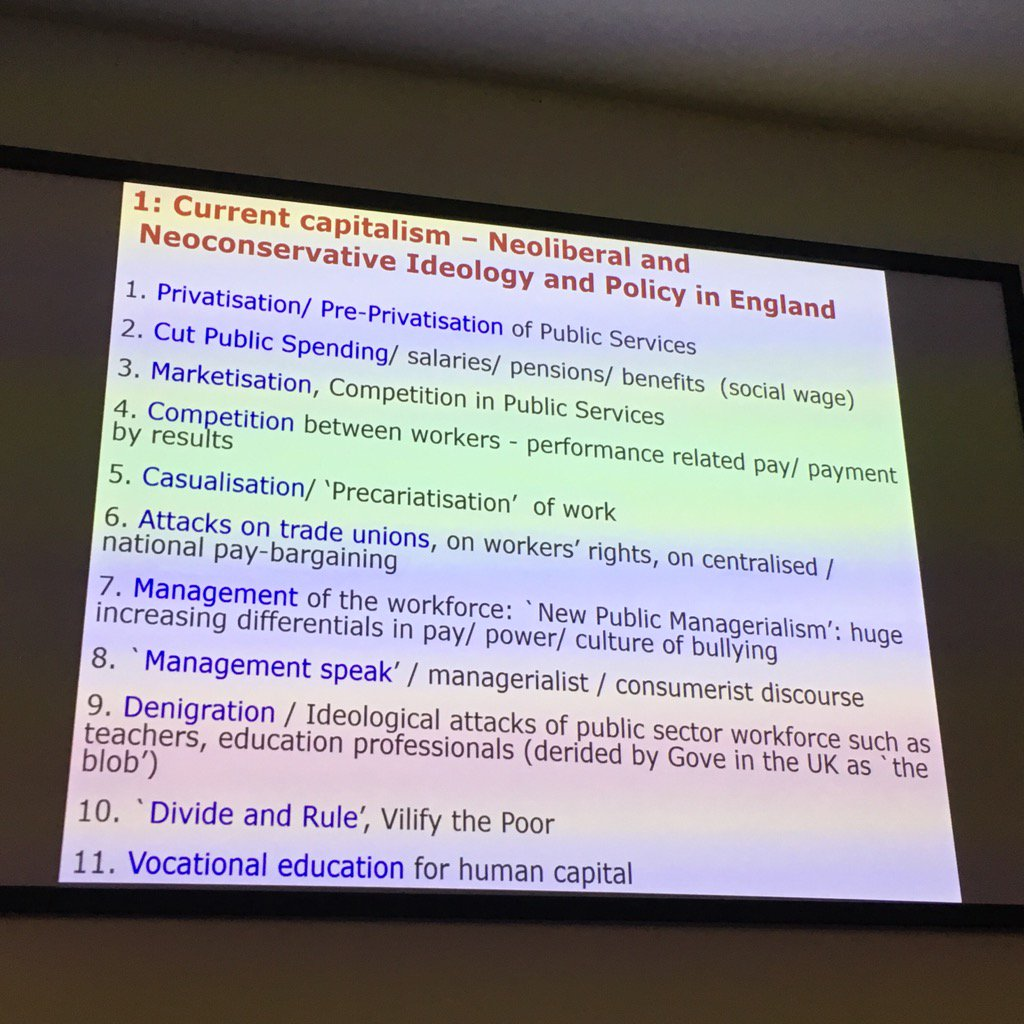 The features of current capitalism, neoliberalism & education policy w/ Prof Dave Hill #aldcon https://t.co/9ZFgv3wZZB