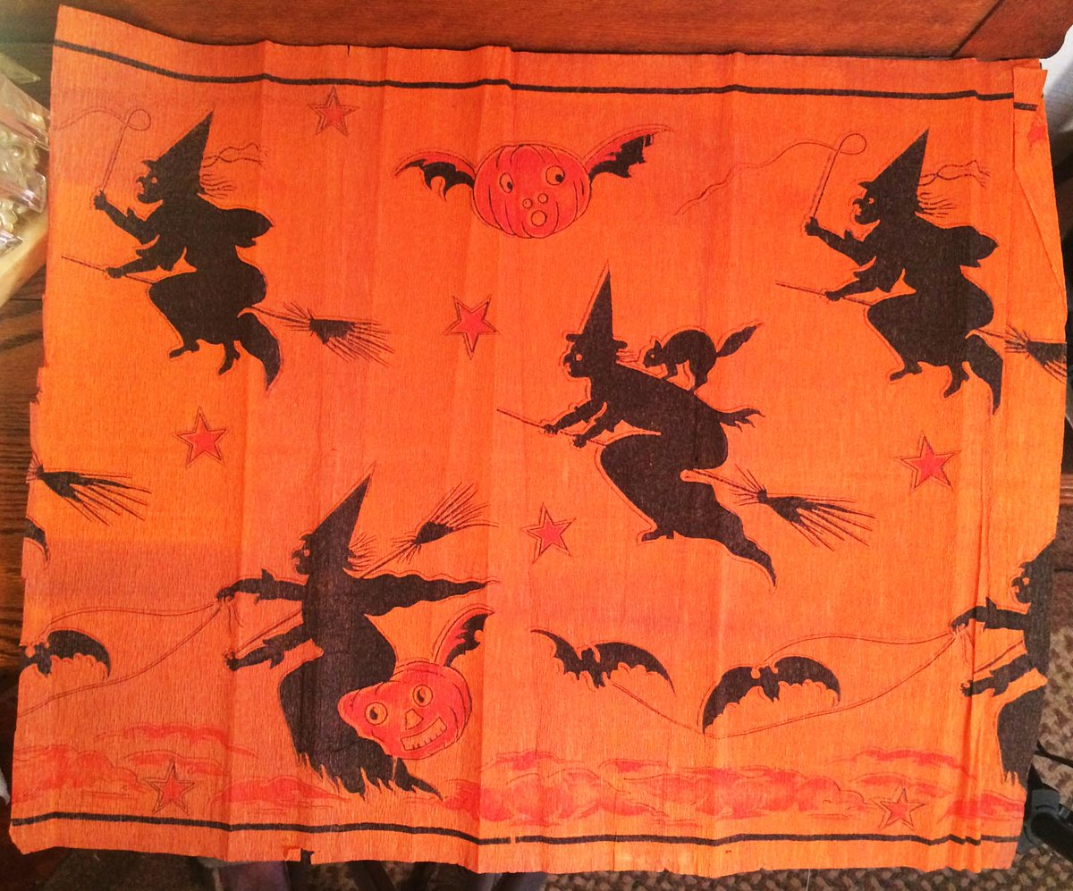 Vintage halloween paper decorations - Rare Early Vintage Halloween Old Dennison Crepe Paper Decoration Superb Imagery