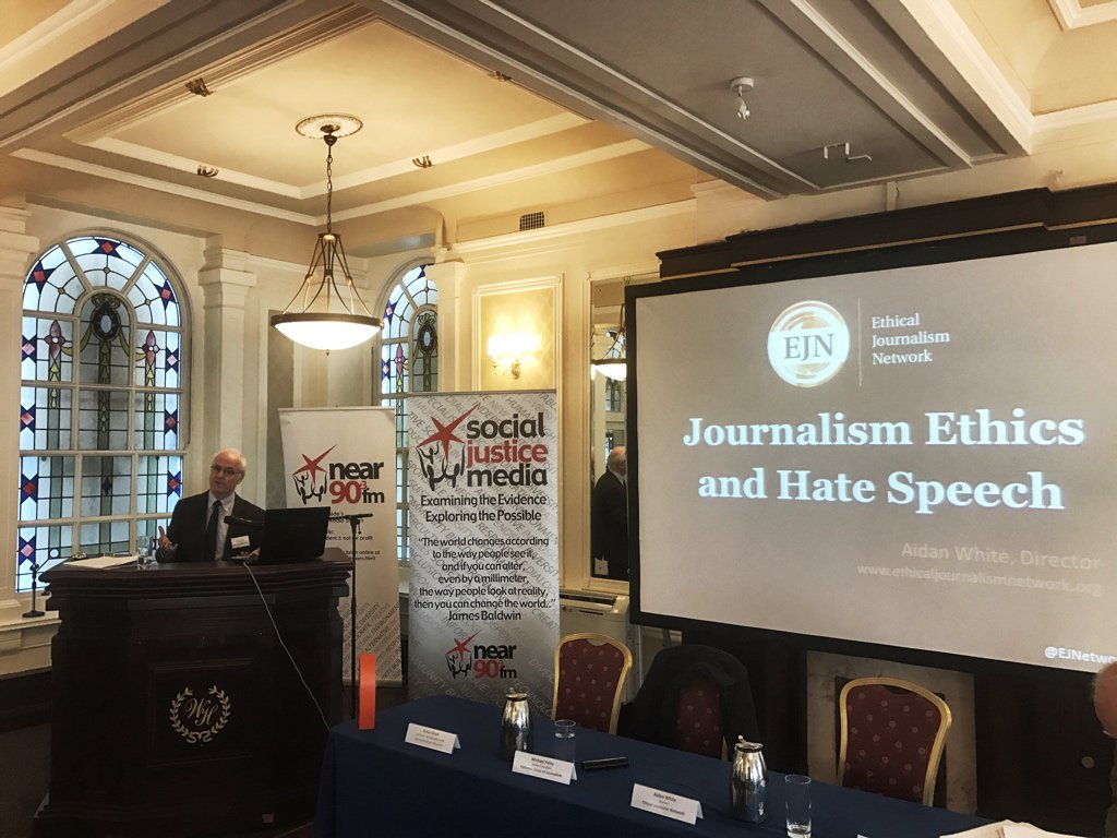 Aidan White of the Ethical Journalist Network on Journalism Ethics and hate speech. #RespectWords https://t.co/pHB5RXTgeX