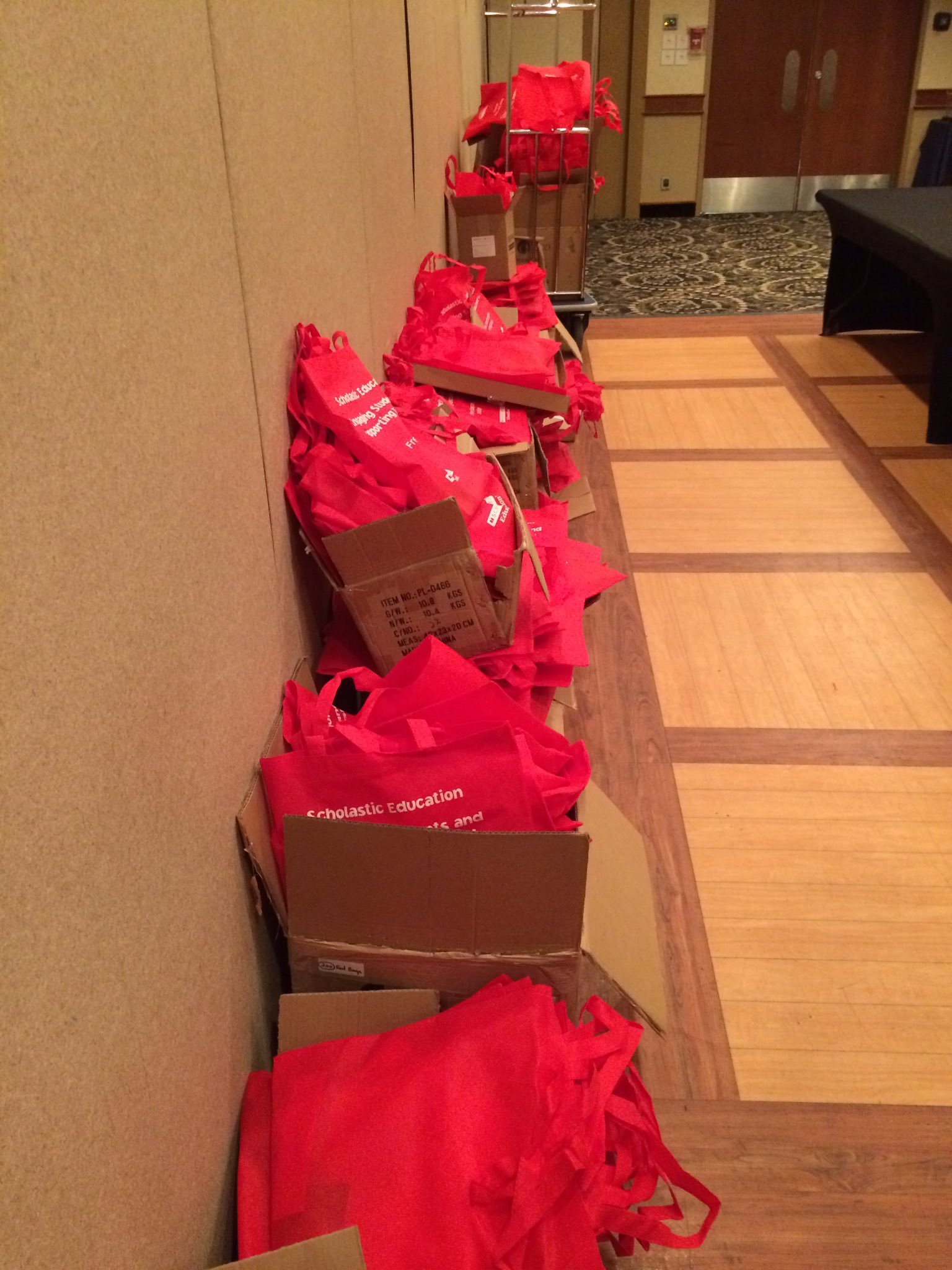 Maybe around 500 Scholastic bags ready to hand out to registrants. #mrasummit https://t.co/FR2aYKqnyy