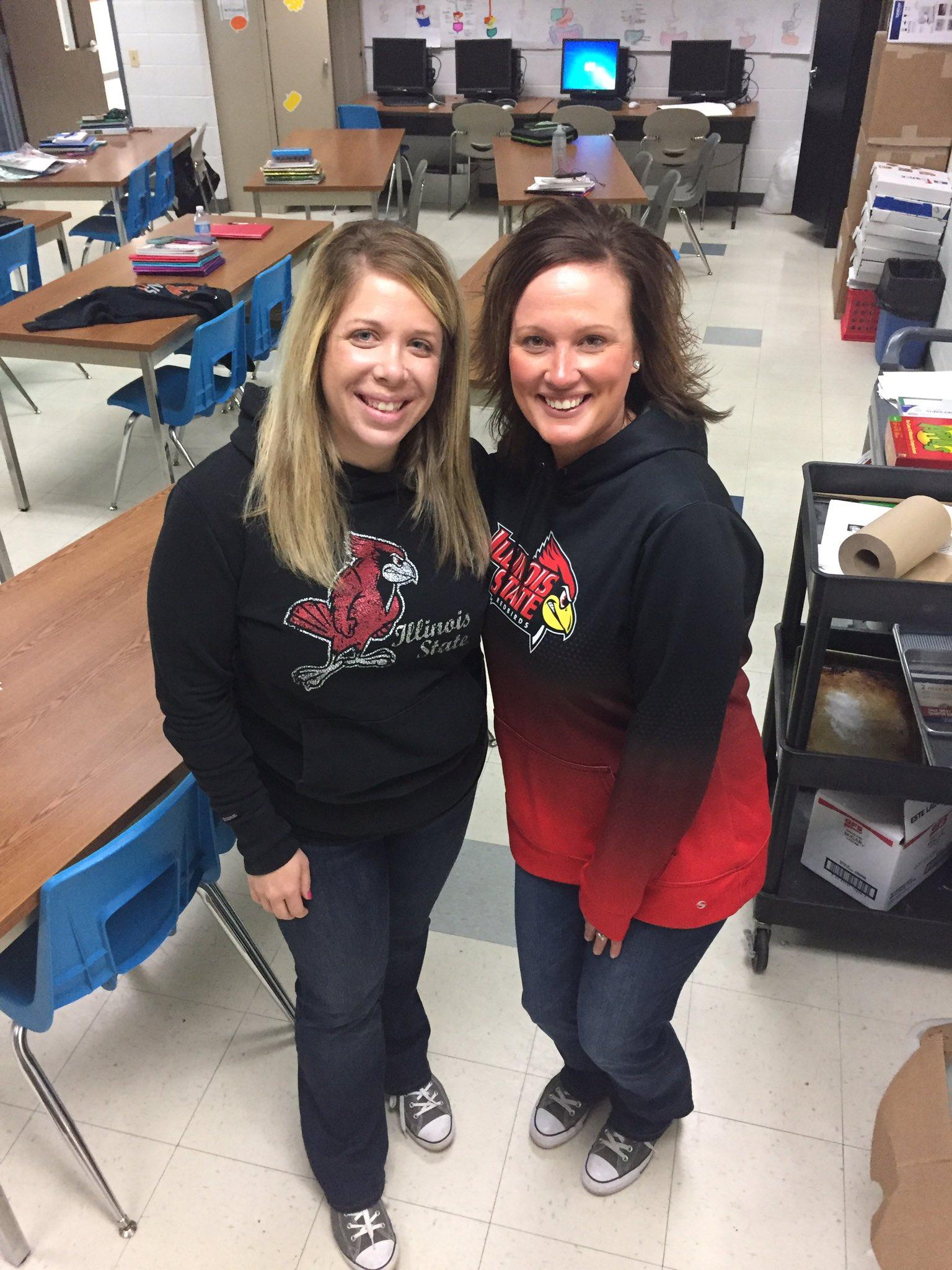 #RedBirdsetgo Mrs. T & Mrs. E proud ISU Alum working at Winnebago High School in Winnebago, IL. #gladlyweteach&learn ❤️ ISU day! https://t.co/mKIeIk9noi