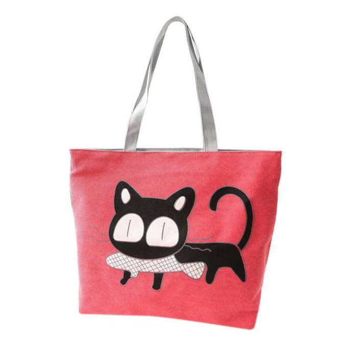 Canvas Shoulder Bags with Cat Pattern