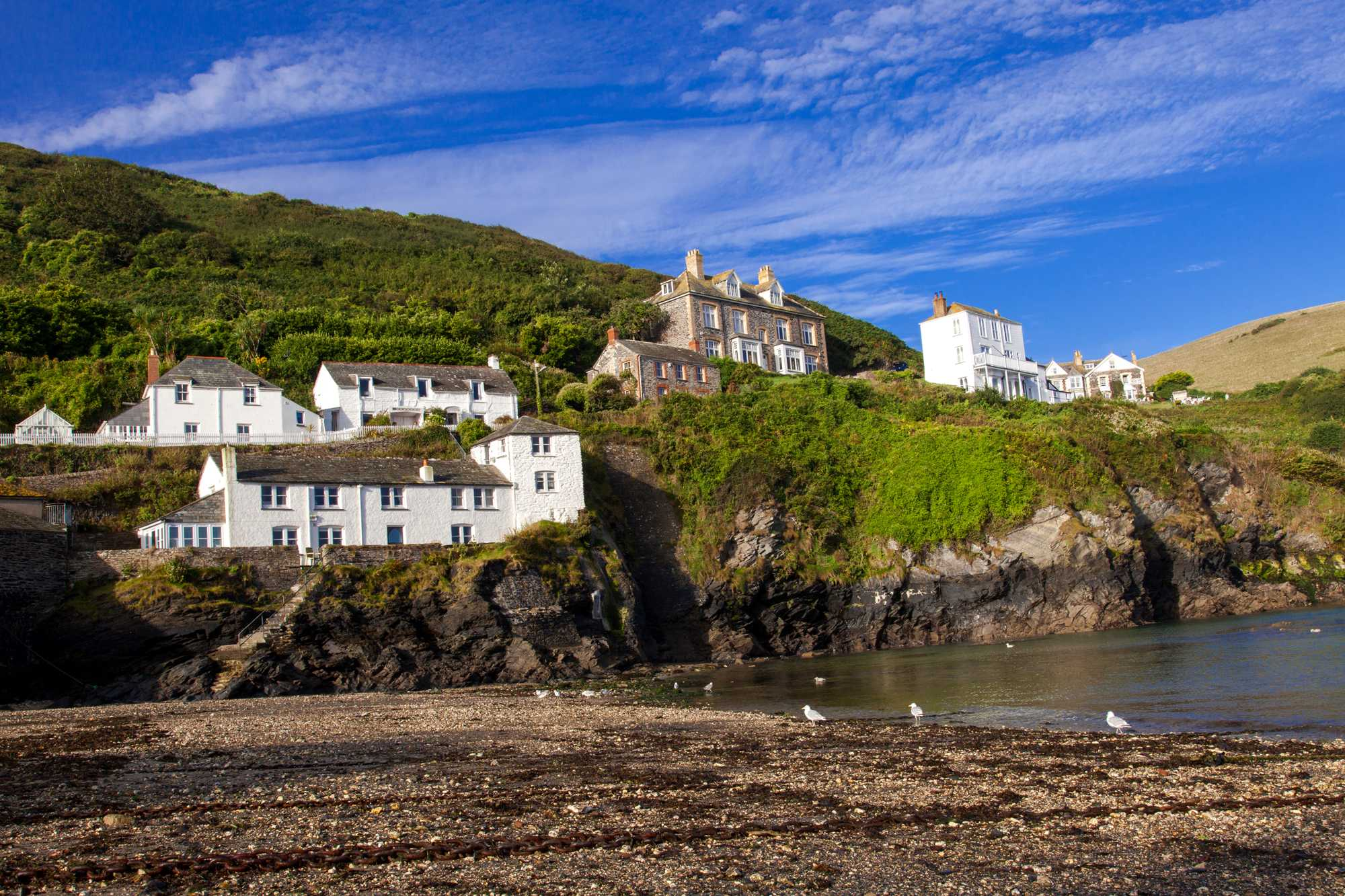 The view from the harbour in the picturesque fishing village of Port Isaac