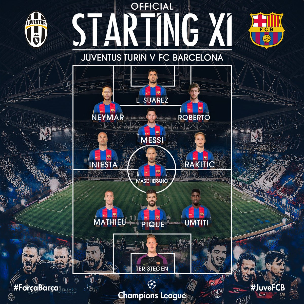 raphi on twitter official lineup juventus turin vs fc barcelona juvefcb fcblive forcabarca ucl raphi on twitter official lineup
