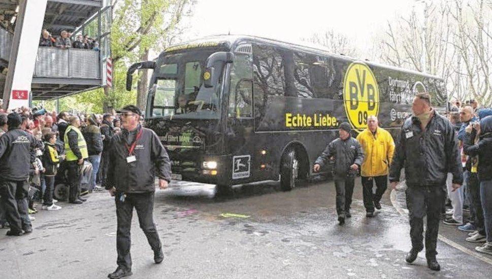 Рядом с автобусом ФК «Боруссия» произошел взрыв