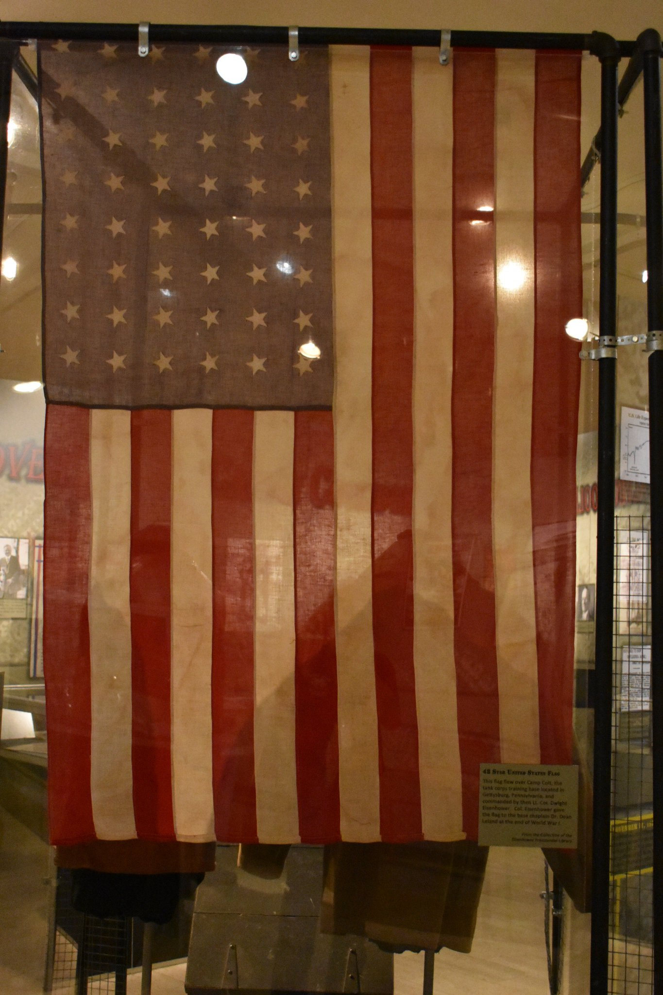 The 48 star flag that flew over Camp Colt @GettysburgNMP while under the command of Eisenhower in 1918 #WWI @OurPresidents Now on exhibit. https://t.co/zJ1UC2f4eX