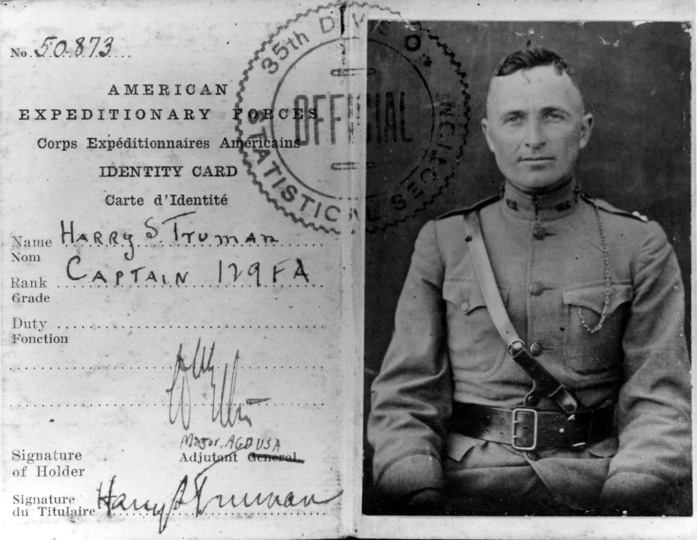 HST's #WWI military id card. No glasses! Was afraid they wouldn't let him in b/c of eyesight, so he memorized the eye exam chart. https://t.co/aJ1yLCpsqL