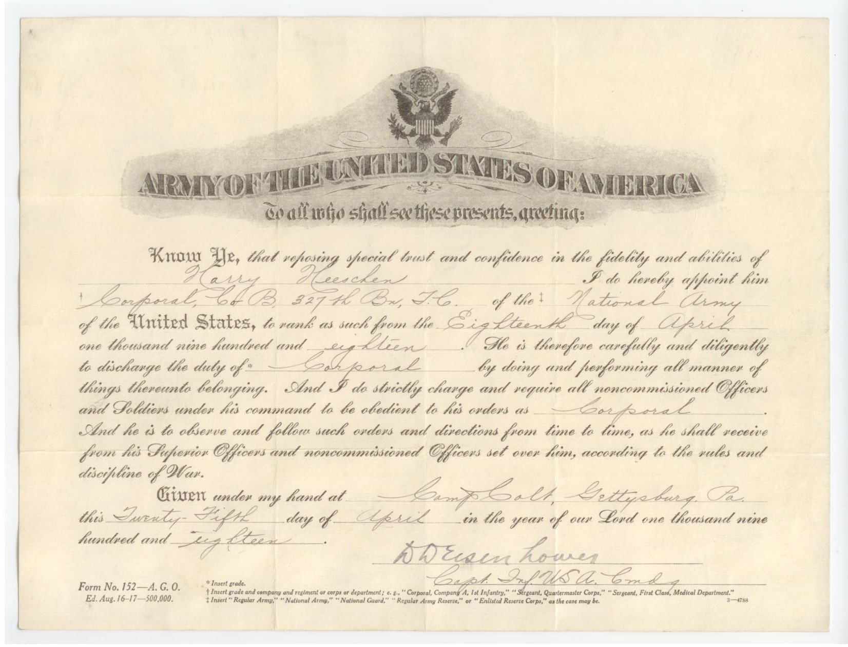 Harry Heeschen's promotion to Corporal signed by Capt. Dwight D. Eisenhower #WWI @OurPresidents https://t.co/GZ7H72NFdi