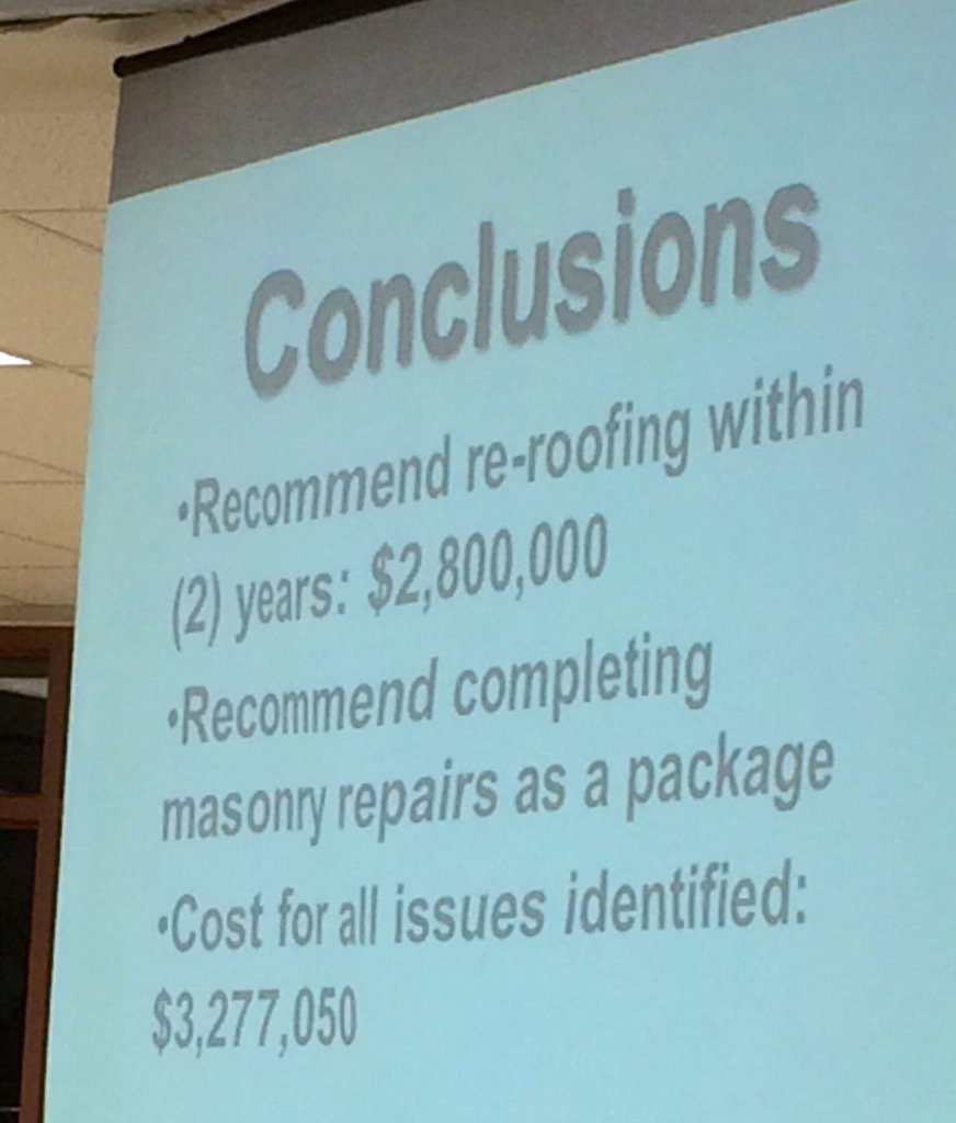 "The architect's final cost estimates for @PGMSNews On scale of 1-5, ""15 fours"" among problems faced, roof among them. https://t.co/uxgSE0U3VX"