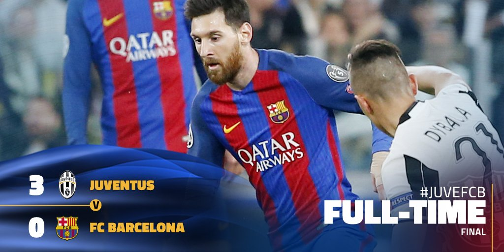 fc barcelona on twitter barca go down 3 0 at the juventus stadium in the first leg goals from dybala 2 and chiellini give juventus the advantage fcblive https t co jrgadfstyo fc barcelona on twitter barca go