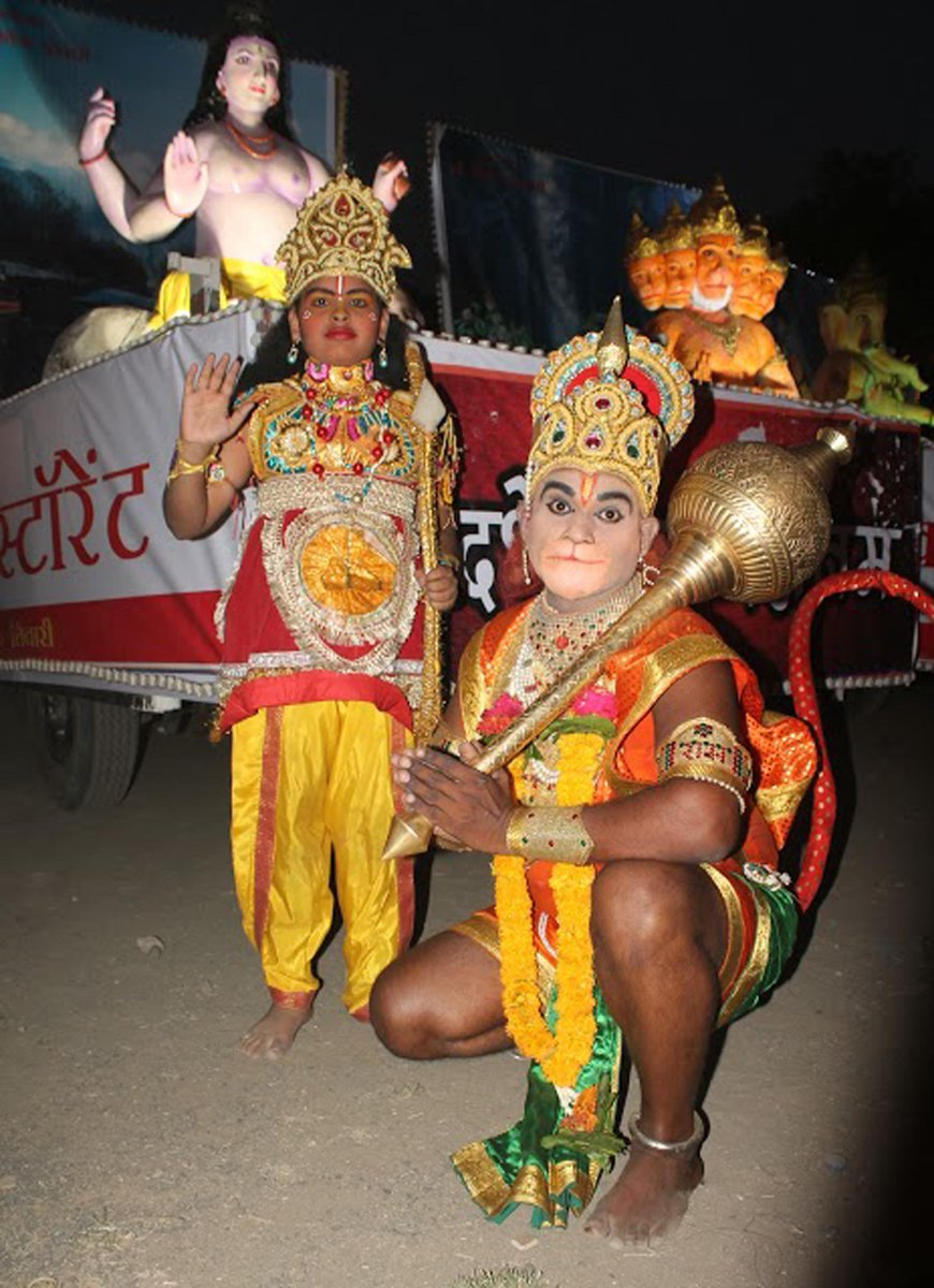 Devotees dressed as lord rama and lord hanuman on occasion of