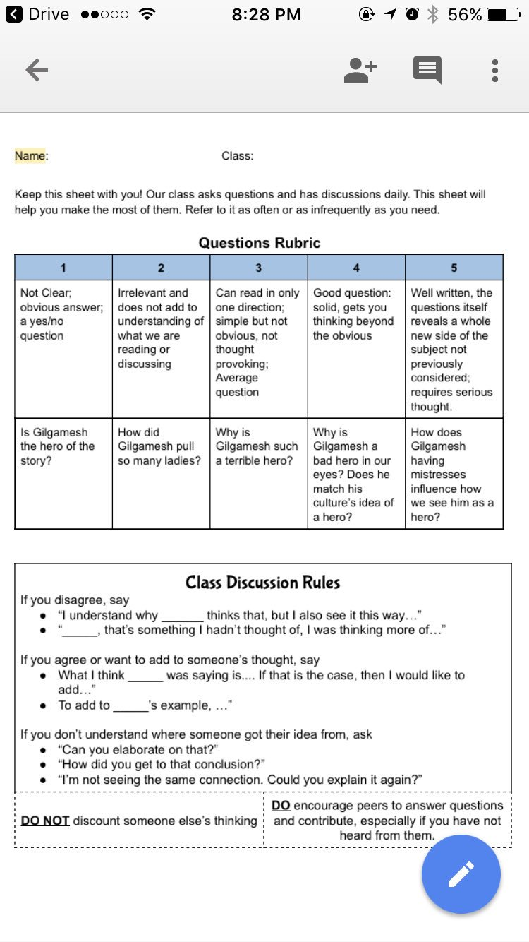 A1-I pass this out day 1 & require it in hand for EVERY disc. Top is dense question model. Bttm is accountable talk #purplesheet #2ndaryELA https://t.co/I2n1ZXJG75